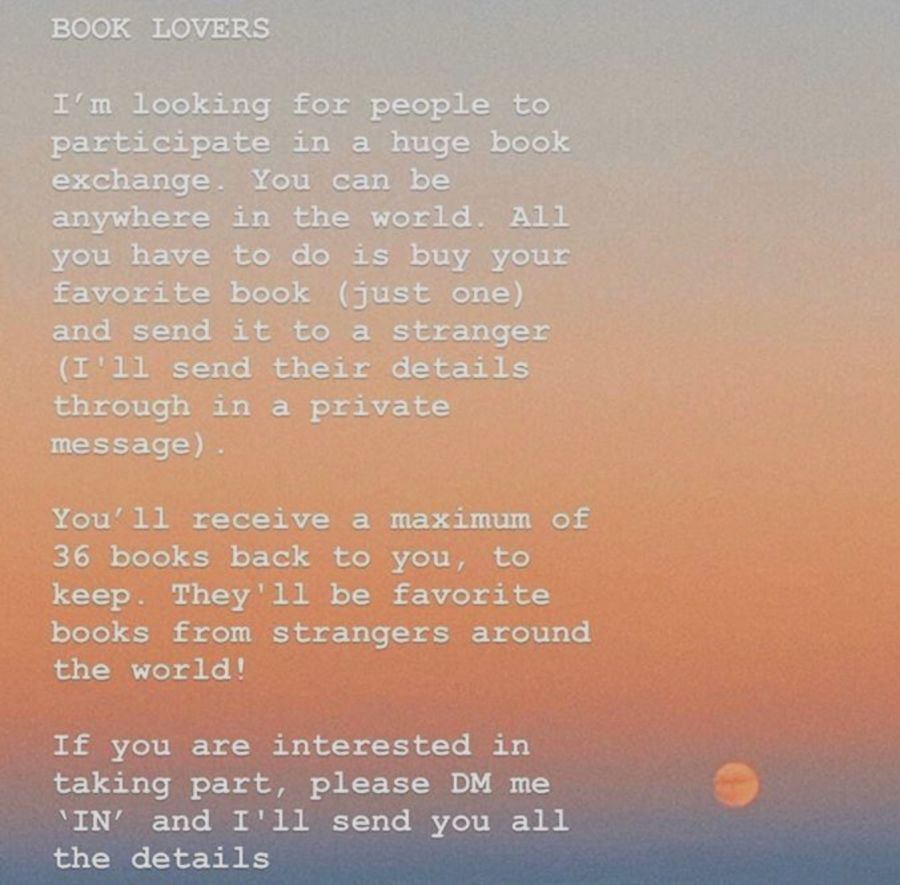 An+advertisement+for+the+international+book+exchange+made+by+participant+Lara+Nobleman+to+post+on+her+Instagram+story+and+spread+the+word+about+the+swap.+
