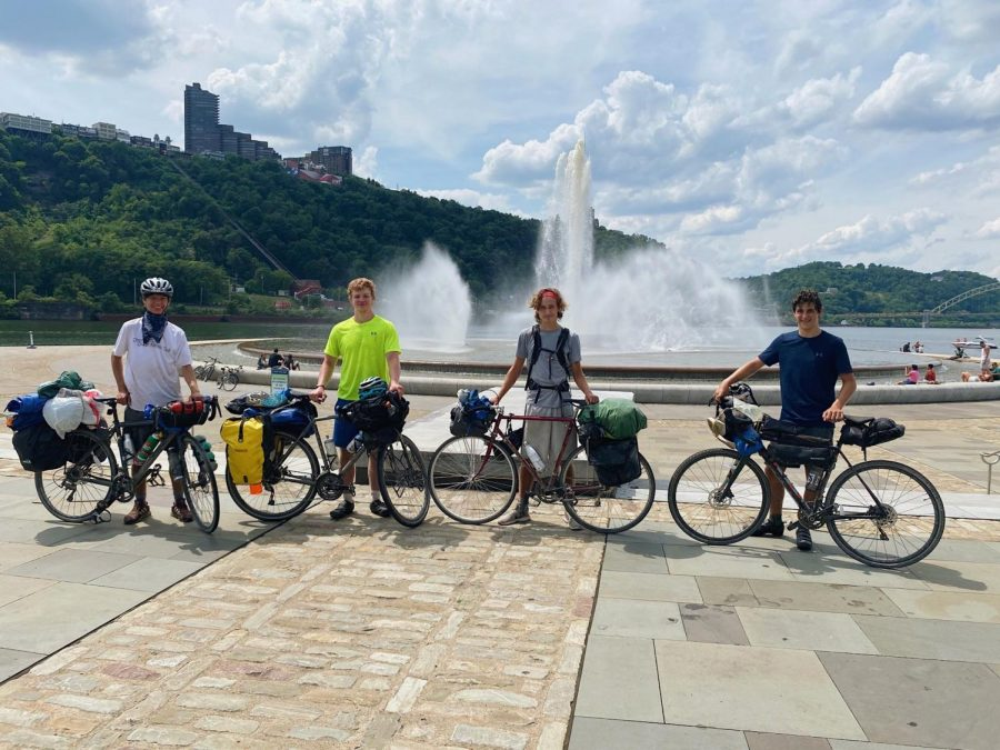 Having+completed+their+journey%2C+the+four+seniors+pose+with+their+bikes+in+front+of+Point+State+Park+in+Pittsburgh%2C+Pennsylvania.+%28Pictured+left+to+right%3A+Nicholas+Pyle%2C+Jordan+Maggin%2C+Finn+Martin%2C+Adam+Melrod%29