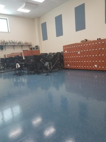 The band room, left empty months into the school year. The WHHS band directors were tasked with getting this art form across, while still remaining safe due to the pandemic.