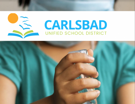 A school girl wearing a mask uses hand sanitizer to keep bacteria off her hands. CUSD has implemented a whole new set of guidelines to help students and staff stay safe and healthy during school reopenings.
