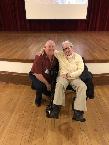 English teacher Dan Shaner poses with Holocaust survivor Shulamit Bastacky.