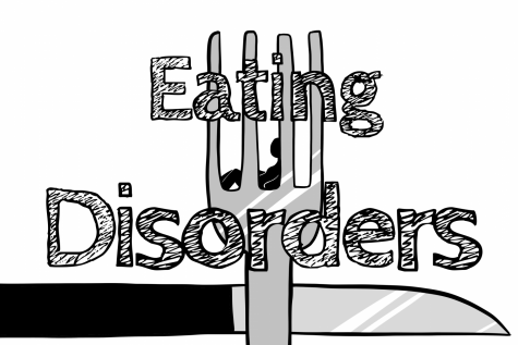 Original art by staff artist, Evanthia Stirou, displaying the dangers of eating disorders.