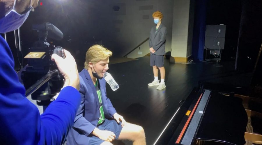 Kirk Briden practicing his act for the filmed talent show.