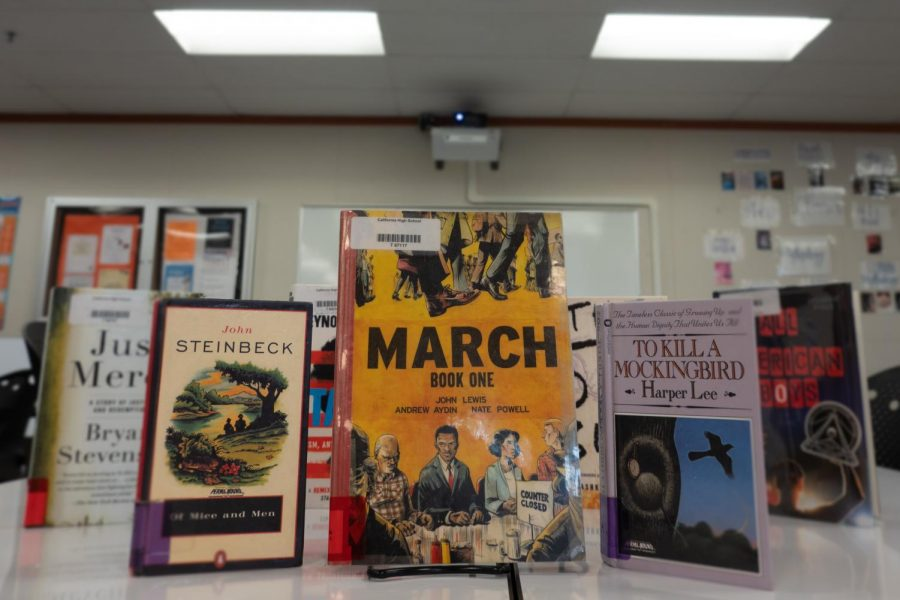 "The classic novels ""Of Mice and Men"" and ""To Kill a Mockingbird"" - displayed here in Cal High's library - have the attention of some students, who are pushing for the district to remove them from the freshmen required reading list because they include offensive racial slurs such as the N-word and are deemed by some to be too discriminating."