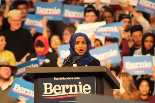Minnesota Rep. Ilhan Omar speaks to the crowd as she introduces Bernie Sanders March 2. Omar was reelected to represent Minnesota's 5th Congressional District.