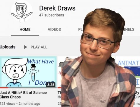 "Senior Derek Hoffman illustrates his passions for animation and video production on his Youtube channel ""Derek Draws."""