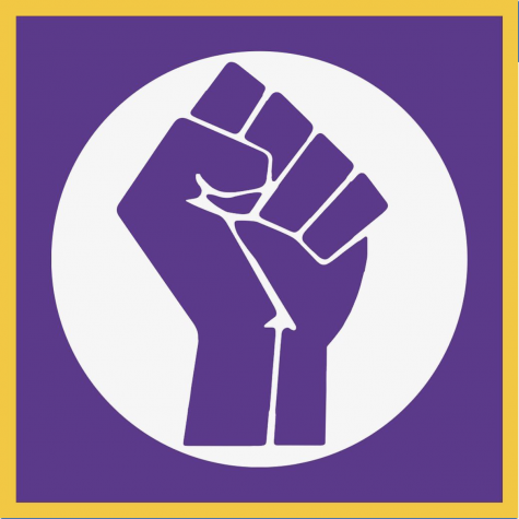 Profile picture for the  Black at NCS Instagram account. The fist is a reference to Black social justice movements and the purple and gold color usage alludes to NCS