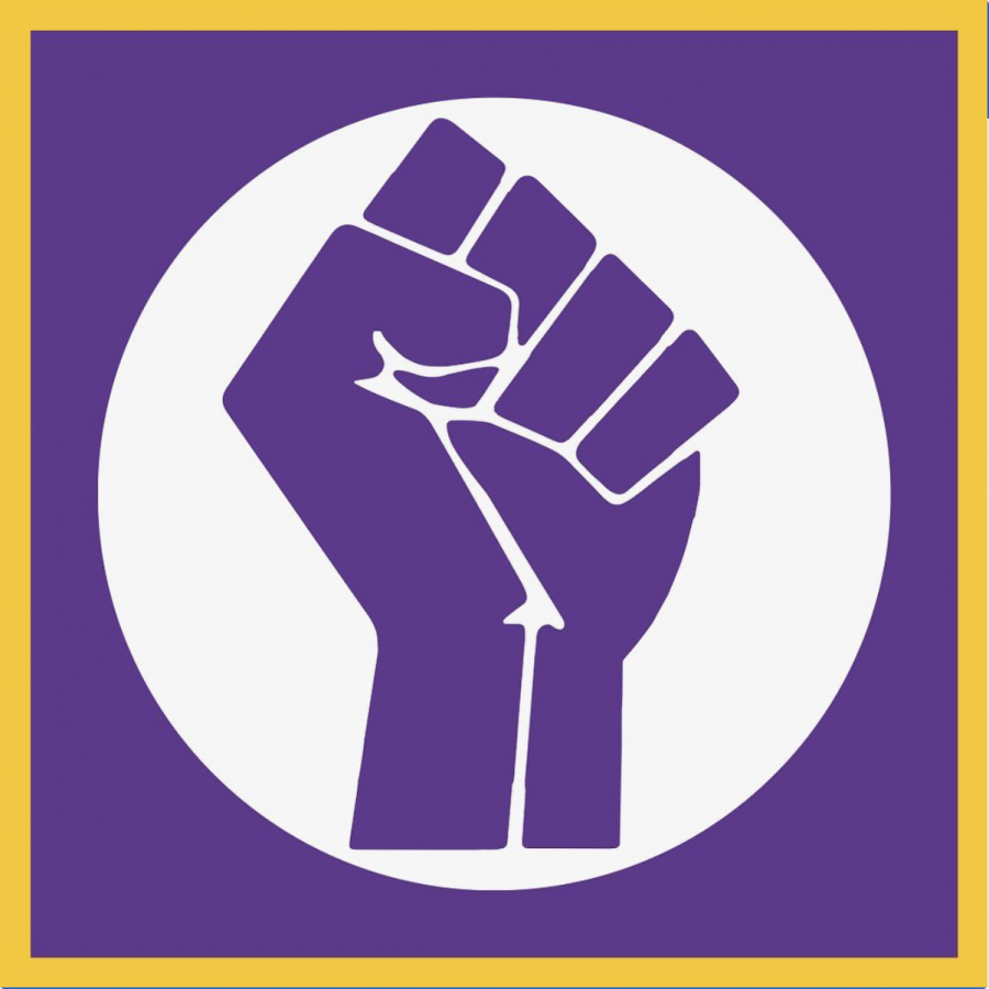 Profile picture for the  Black at NCS Instagram account. The fist is a reference to Black social justice movements and the purple and gold color usage alludes to NCS' school colors.