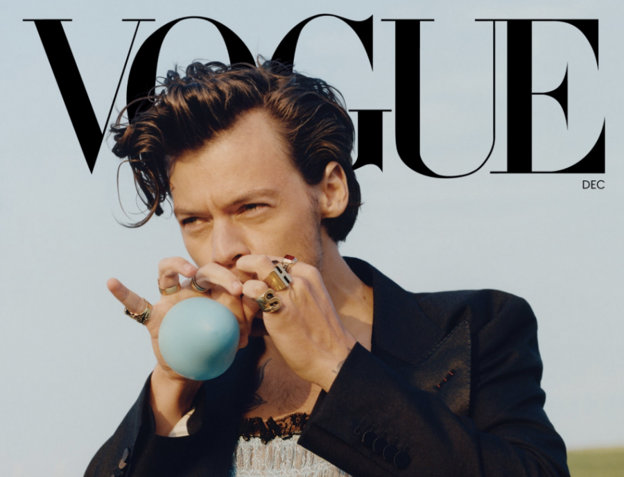 Cover Look: Styles wears a Gucci jacket and dress. Photographed by Tyler Mitchell, Vogue, December 2020