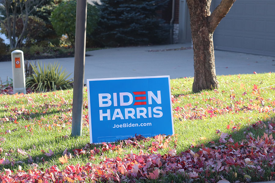 A Joe Biden campaign sign sits in a Coralville lawn.