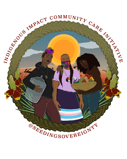 Artwork promoting Seeding Sovereignty's program that aids Indigenous communities fighting COVID.