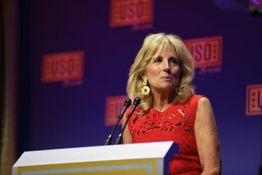 Dr.+Jill+Biden+in+2016+at+the+USO+Gala.+Biden+is+a+military+mom%2C+an+educator+and+the+future+FLOTUS+of+the+United+States.