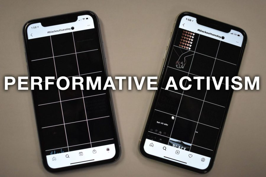 One+example+of+performative+activism+occurred+on+June+2%2C+when+millions+of+Instagram+users+posted+black+squares+with+the+hashtag+%2523blackouttuesday.+Performative+activism%2C+which+consists+of+low+risk+actions+and+increases+social+capital%2C+does+little+to+help+further+a+cause.+