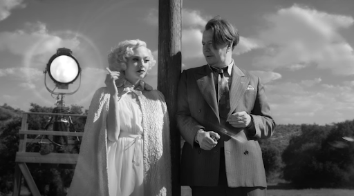 Mank (Gary Oldman) and Marion Davis (Amanda Seyfriend) trade banter on a Hollywood back lot. Davis provides inspiration for Kane's young second wife in Mank's screenplay of