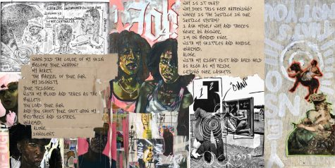 "The collage above mixes paintings, prints, and poems by visual seniors Kailyn Bryant and Sabrea Stallings. The poem, ""Crying over Caskets,"" by Stallings, along with Bryant's work, incorporates the tumultuous lives and emotions of what it means to be Black in America. Black students, such as Bryant and Stallings, have used their artwork to express their navigation through the current political environment. All of Bryant's work can be found on her website: kbryantfinearts.com"