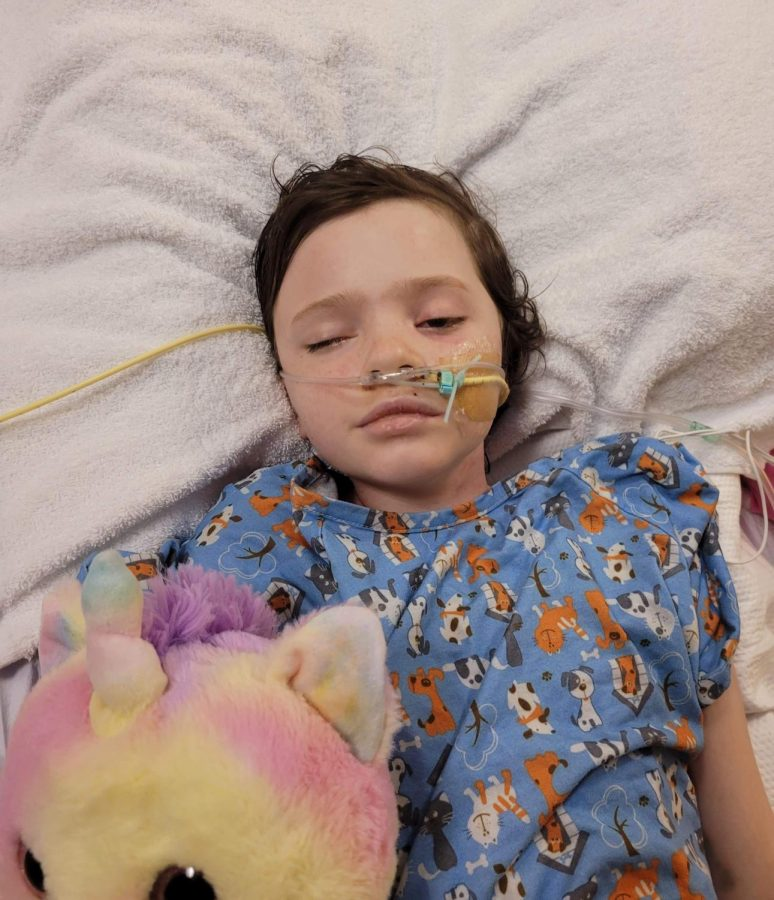 12-year-old Riley Wambeke in the Children's Hospital of Colorado. Wambeke suffered from a brain bleed and emerged from a coma Dec. 29.