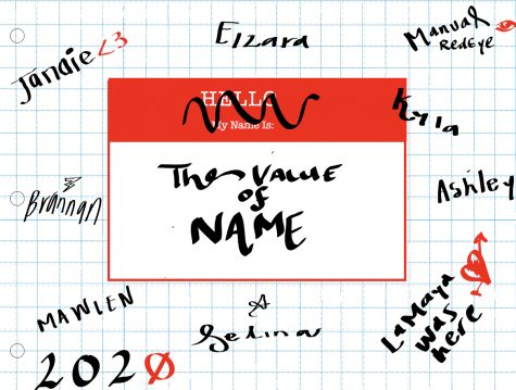 A graphic of a name tag, representing the diversity and importance of a name.
