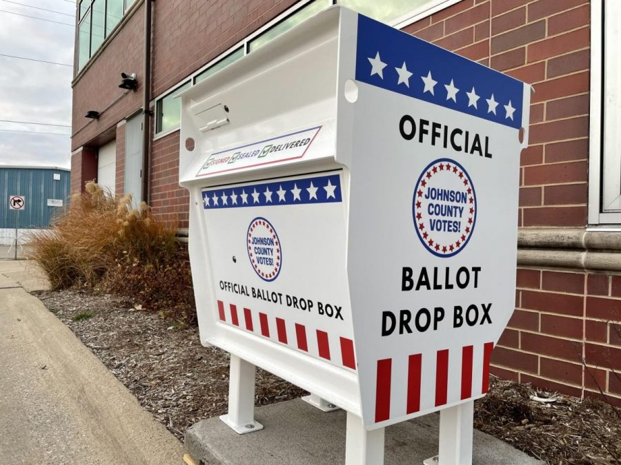 An official ballot drop box outside of the Johnson County Administration Building.
