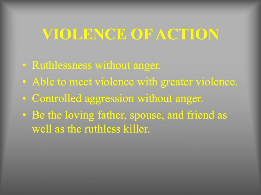 A slide from one of the Kentucky State Police's slideshow that enforces aggression and ruthlessness.