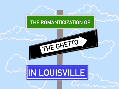 "A graphic depicting street signs reading ""The Romanticization of the Ghetto in Louisville."""