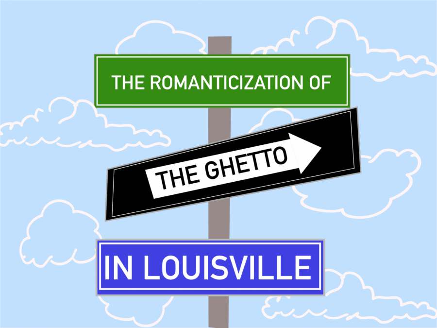A+graphic+depicting+street+signs+reading+%22The+Romanticization+of+the+Ghetto+in+Louisville.%22+
