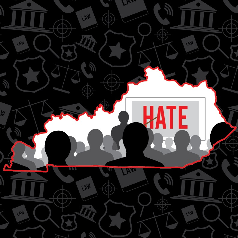 A+graphic+of+the+state+of+Kentucky+with+a+presentation+being+presented.+The+word+HATE+is+in+bold.+Graphic+by+guest+contributor%2C+James+Jean-Marie.+