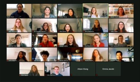 A Zoom meeting screenshot of Paly Responsive Inclusive Safe Environment (RISE, @palyrise), a student task force committed to the goals of sexual violence education, prevention and justice, is displayed.