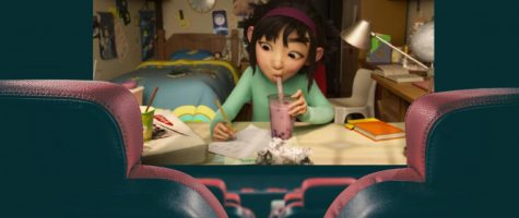 Fei Fei (Cathy Ang) drinks bubble tea, a recently popular drink in Asian and Asian American culture, while designing her rocket that she will fly to the moon.