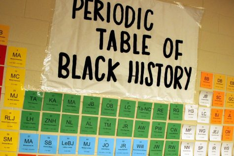 "As it hangs in the science hallway, the Periodic Table of Black History displays the name of famous African Americans, past and present. February is Black History Month. ""Specifically to our Black students, you are loved,"" Burdett said. ""You are cherished. You make us better. You make us the greatest high school in the world. We are in the greatest school district in the world because we want to honor every single student every single day. We want them to feel like they are a part of a family."""