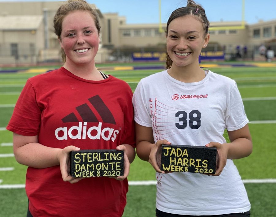 Sterling Damonte '22 and Jada Harris '21 were the first female athlete to earn bricks.