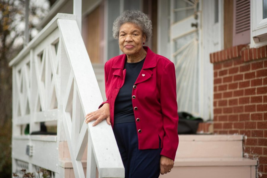 Retired State Department employee Patricia Tyson poses at her home in Lyttonsville, the Silver Spring neighborhood where she