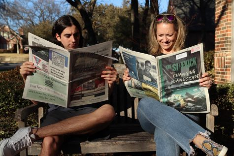 The Sidekick 2020 alumni Nico Reyes and 1995 alumni Kate Gilbert read issues of The Sidekick on Wednesday. Today's theme for Scholastic Journalism Week is beyond student journalism, which honors the skills gained from journalism.
