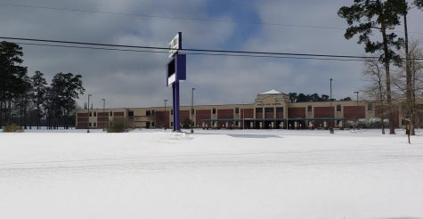 IN A SEA OF WHITE.  Willis High School under a blanket of snow is an unusual sight. The school was closed from February 15-19 due to an ice and snow storm that left most of Texas facing water and power problems. Classes will resume February 22.