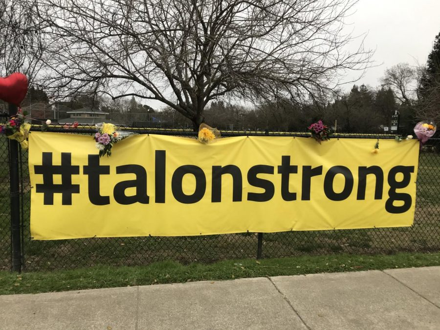 A+yellow+%2523talonstrong+banner+has+been+displayed+on+the+fence+at+Valley+Oak+Park%2C+nearby+where+Talon+grew+up+and+played+baseball+as+a+kid.+Upon+his+passing%2C+family+and+friends+left+flowers+and+balloons+around+the+sign.