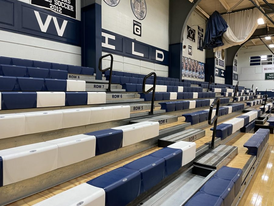 Bleachers+in+the+lower+gym+at+Presque+Isle+High+School+stand+empty%2C+devoid+of+parents+and+students+alike+due+to+the+indoor+gathering+restrictions+put+in+place+by+the+Maine+CDC.