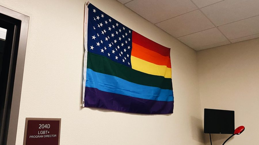 A+Pride+flag+is+pictured+outside+the+LGBT+Programs+office.+