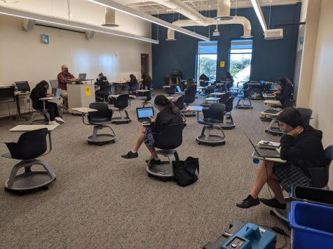 "At Ann Richards School for Young Woman Leaders, students on campus learn in ""forums"" with subject-area teachers, per the guidelines for the pilot program outlined by the Texas Education Agency."