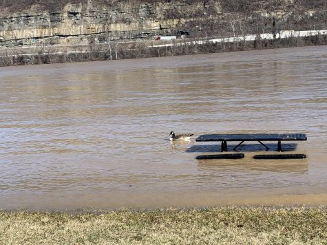Flood waters rose covering tables and other seating at Ashland's riverfront.