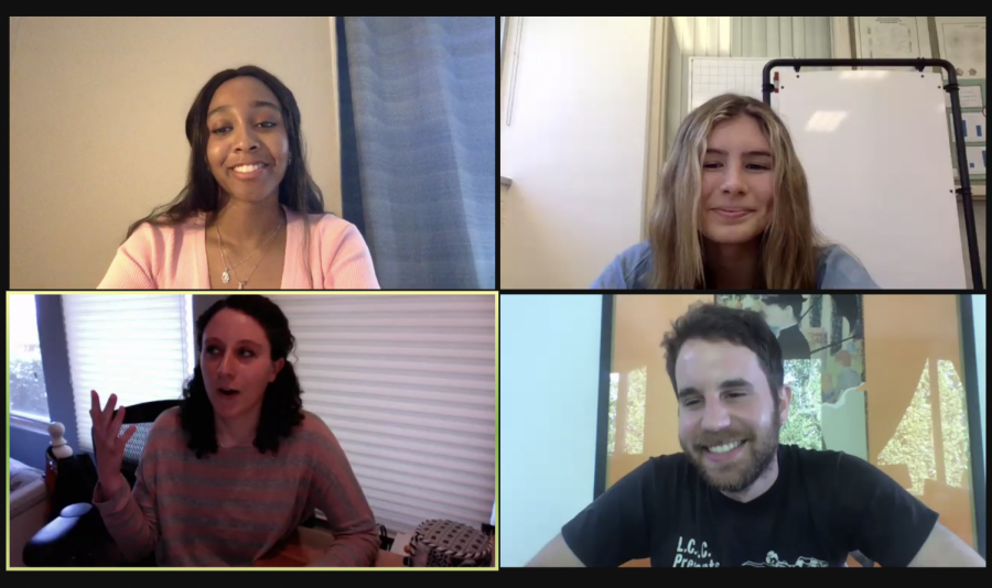 Chance+Walker+%2721+and+Izzy+Welsh+%2722+moderate+the+mental+health+discussion+with+panelists+Natalie+Margolin+%2710+and+Ben+Platt+%2710.