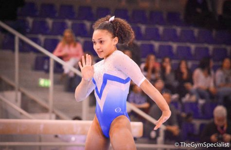 Sophomore Sydney Barros performs a floor routine at her first international competition in Jesolo, Italy in 2018.