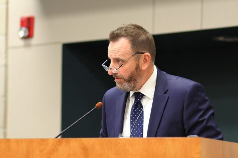After giving his presentation on school security at the Board of Education meeting on Monday, Aug. 13, 2018 assistant superintendent Alvie Cater looks at his fellow board members.
