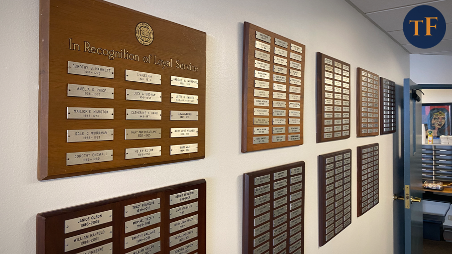 A+series+of+plaques+honoring+Latin%27s+most+loyal+educators+lines+the+second-floor+hallway.