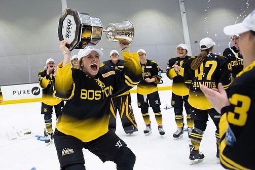 Lauren Kelly of the Boston Pride (and Watertown Middle School) celebrates with the Isobel Cup after Boston beat the Minnesota Whitecaps, 4-3, for the NWHL title on March 27, 2021, at Warrior Ice Arena.