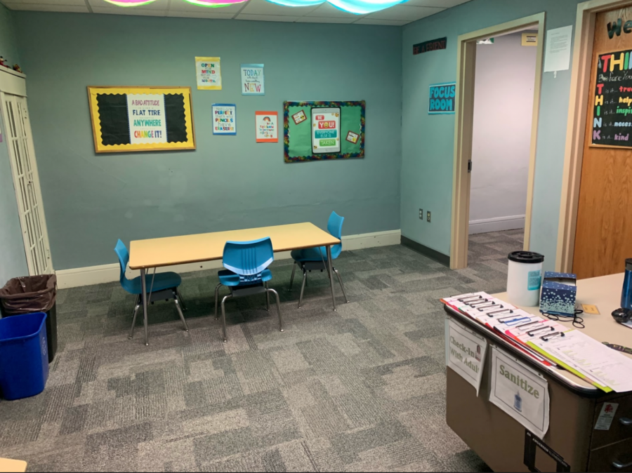 The Green Room at Anderson Elementary School is available for students who need a little time to process emotions and get their heads back in the game for school work. Staff hopes that this room will alloy for students to perform better while eliminatinng distractions.