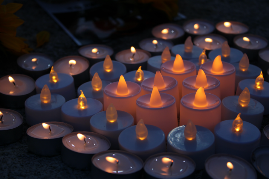 Candles+were+lit+in+a+heart+shape+in+memory+of+the+Atlanta+spa+shooting+victims.