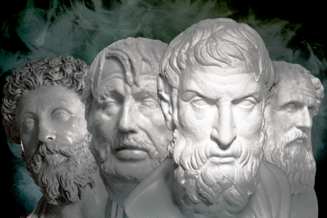 (From left to right) Marcus Aurelius, Seneca the Younger, Epictetus, Zeno of Citium.