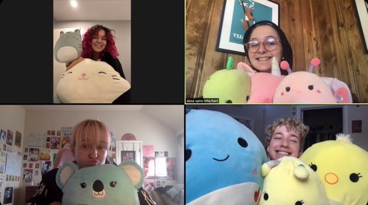 Juniors Alysa Spiro, Eden Goodman, Venus Hicks, and senior Aydan Howison show off their collection of Squishmallows during an impromptu show and tell during AP Ethnic Studies class.