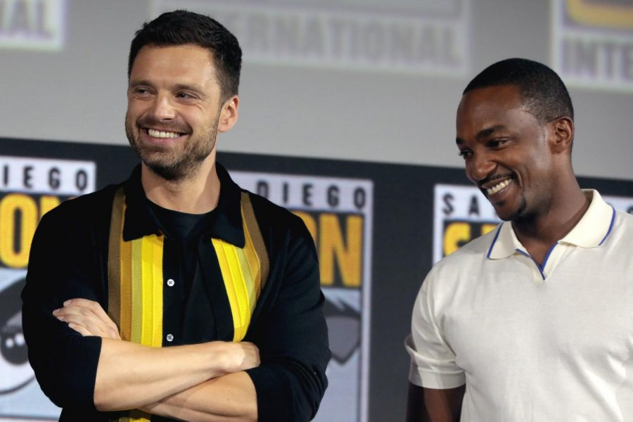 Actors+Sebastian+Stan+and+Anthony+Mackie%2C+who+portray+the+Winter+Soldier+and+Falcon%2C+speak+at+San+Diego+Comic-Con.