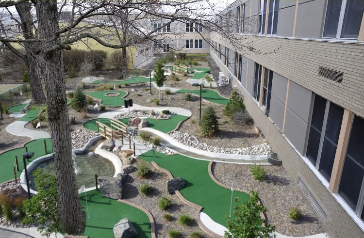 The+first+nine+holes+of+the+Golden+Eagle+Golf+Club+are+open+on+the+front+side+of+the+courtyard.++The+other+nine+holes+will+be+constructed+on+the+other+side+next+school+year.