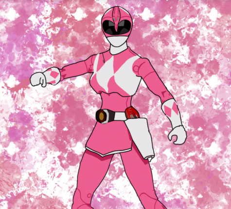 An illustration of the pink Power Ranger from the children